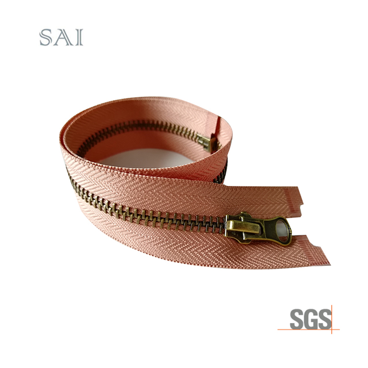 Hot sale Low price 3# Close End Garment Home Textile Brass Teeth Metal  Zipper