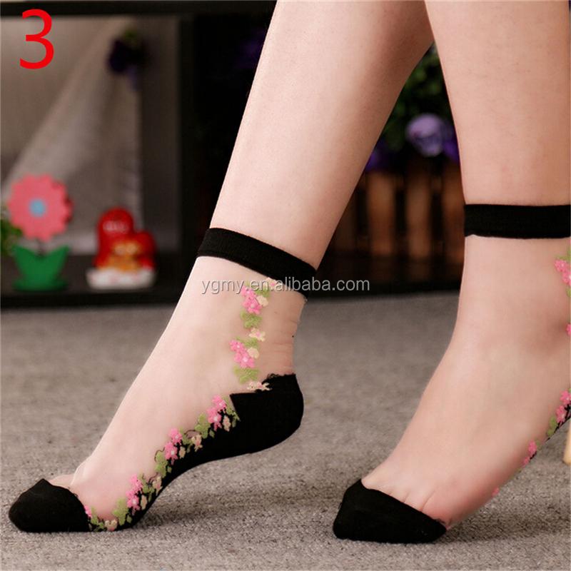 Details about  /Women/'s Lace Socks Crystal Silk Short Thin Transparent zzcc Flowe Fashion P1L5