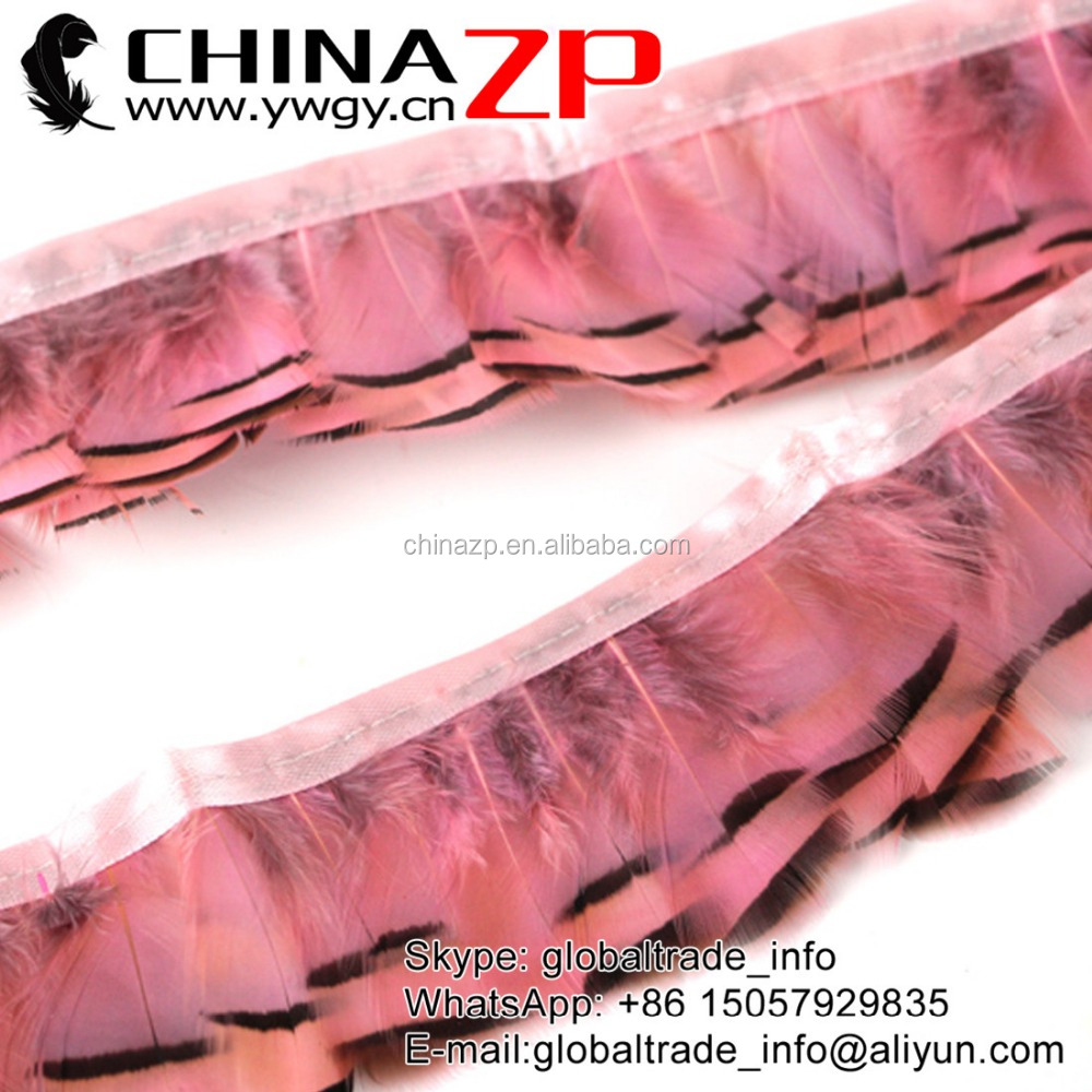Factory Wholesale Bulk Cheap dyed LIGHT PINK Partridge Hen Plumage Feather Fringe