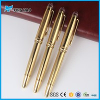 china wholesale market new arrive hot stamping golden metal roller pen with crystal top logo printing