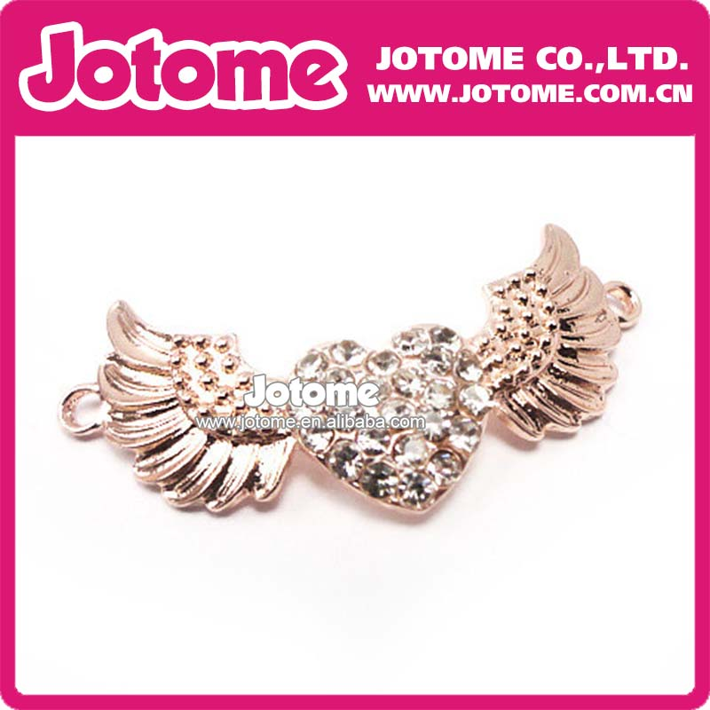 High Quality Rhinesotne Gold Heart with Wings connector for Necklace