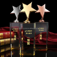 wholesales trophy cup,elegant clear crystal rising star trophy