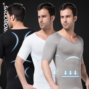 349 ZEROBODYS Comfortable Mens Body Shaper Short Sleeve Undershirt Bodysuits for Adult Compression Clothing Corset Tops