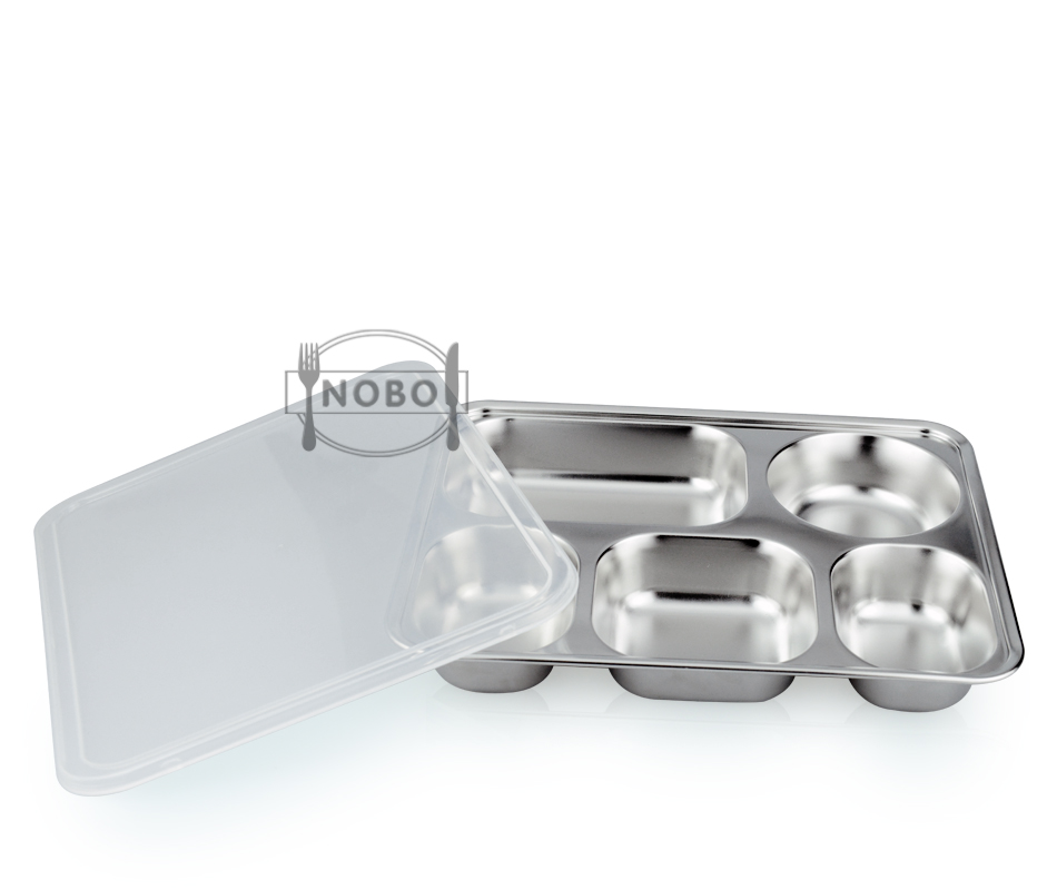 Hot Sale Serving Dinner Set 5 Divided Metal Tray Stainless Steel Dinner Plates with PP Lid or Steel Lid