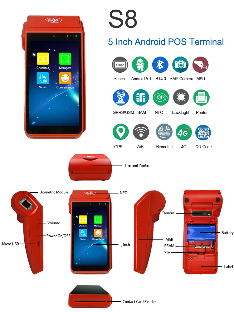3G/4G Wireless Mobile Android Handheld POS Terminal