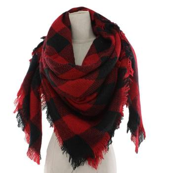 2018 Autumn Winter Black and Red Bufallo Scarf Acrylic Plaid Blanket Scarf