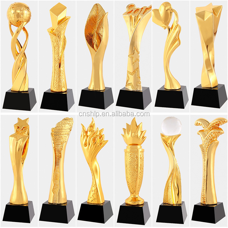 Wholesale custom your own design gold plated award trophy for souvenir