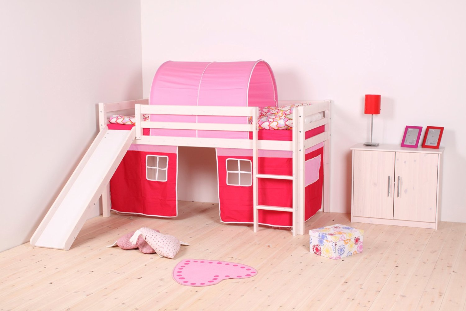 Thuka Girl's Castle Loft Bed With Slide & Pink & Hot Pink Curtains And Pink Cave– With Mid Sleeper Building Kit Including Safety Guard Rails & Ladder – Ideal Girl's Furniture Set - Nordic Pine