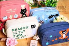 large capacity cat style canvas pencil bag pencil case children school pencil bag cosmetic bags 4 colors Free Shipping