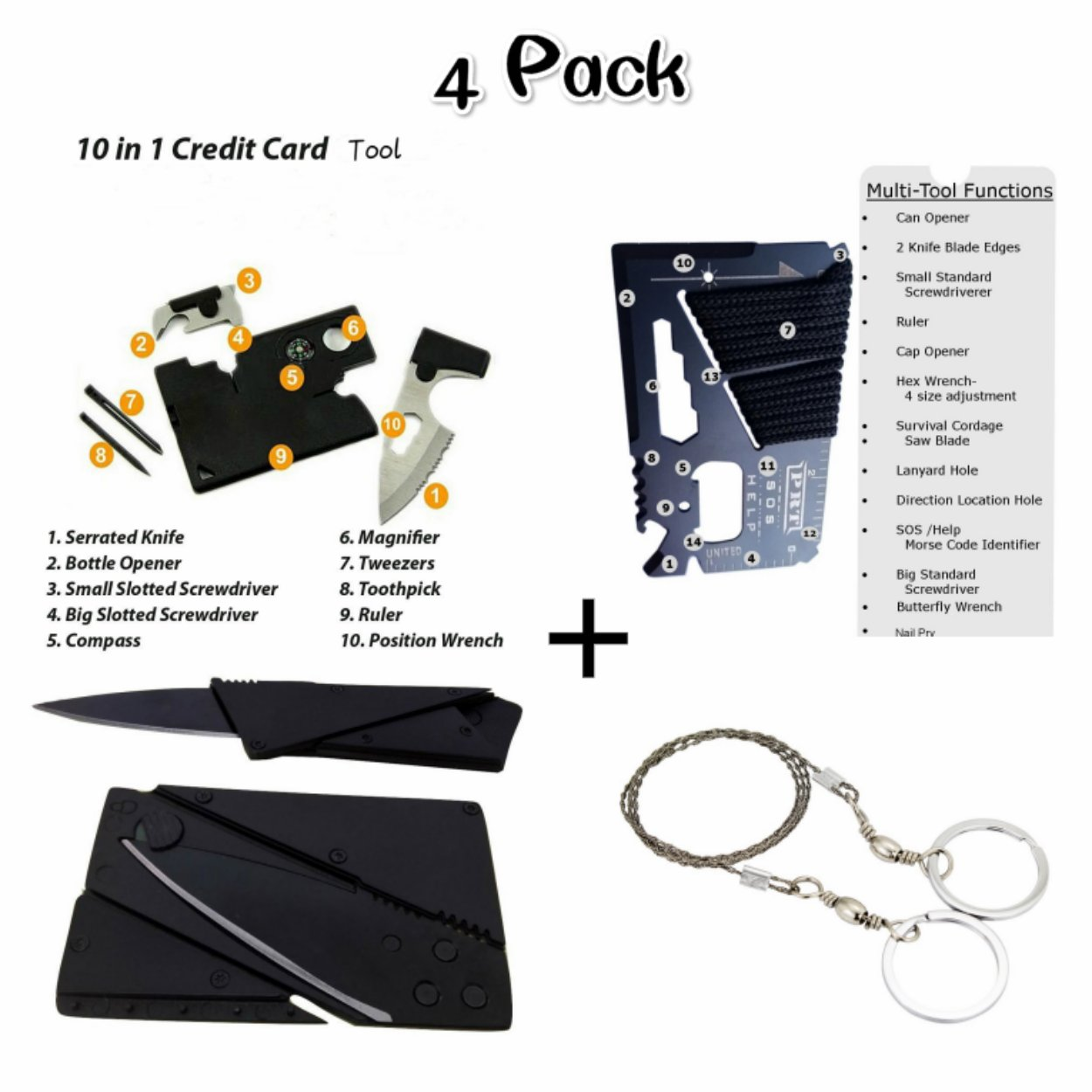 Emergency Tactical Survival Kit with 10 in 1 Credit Card Tool Wallet Tool,14 in 1 Credit Card Multitool,Wallet Knife Card Knife,Line Saw Pocket Saw,4 type/set Gadgets Pocket Tool for Camping,Hiking