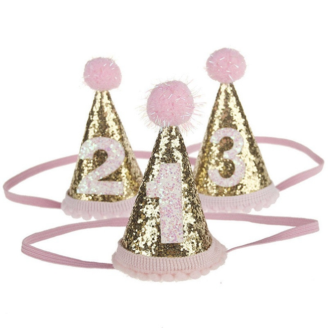 Hstyle Baby Girl Happy Birthday Party Hats Kids One Year Flower Princess Crown Headband Baby Shower SDS065