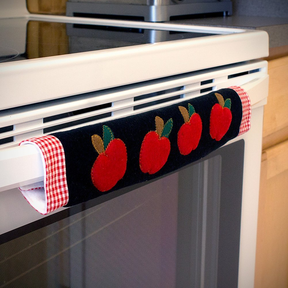 Set of 3 kitchen appliance handle covers w apple design
