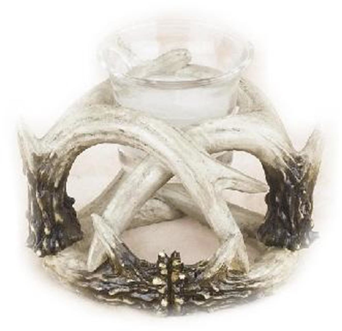 4 Inch Brown and White Deer Antler Design Single Candle Holder