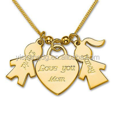 Gold Plated Kids Charm Necklace with heart charm name necklace for mum and dad