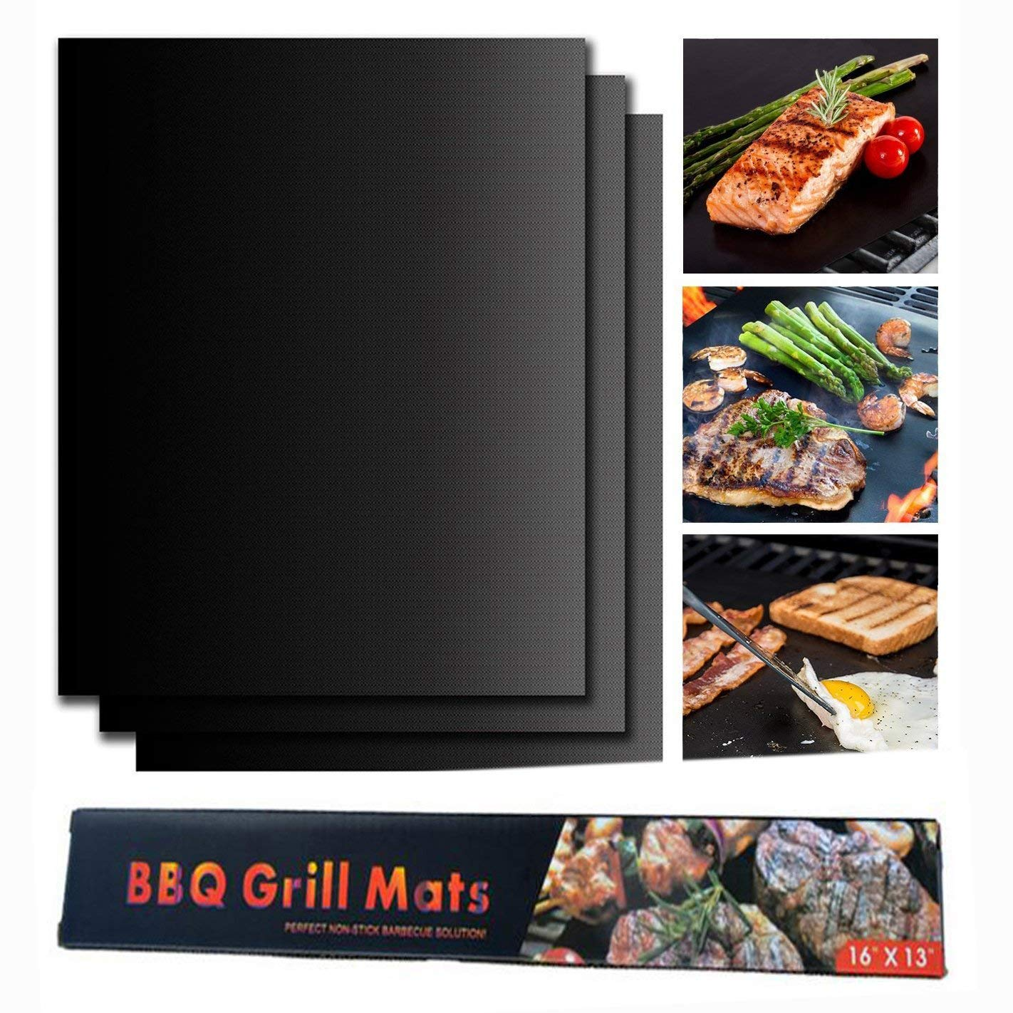 Kuke bbq grill mat (Set of 3) Non-Stick grilling mat for Gas, Charcoal, Electric Grill Sheet black copper grill mats (black)