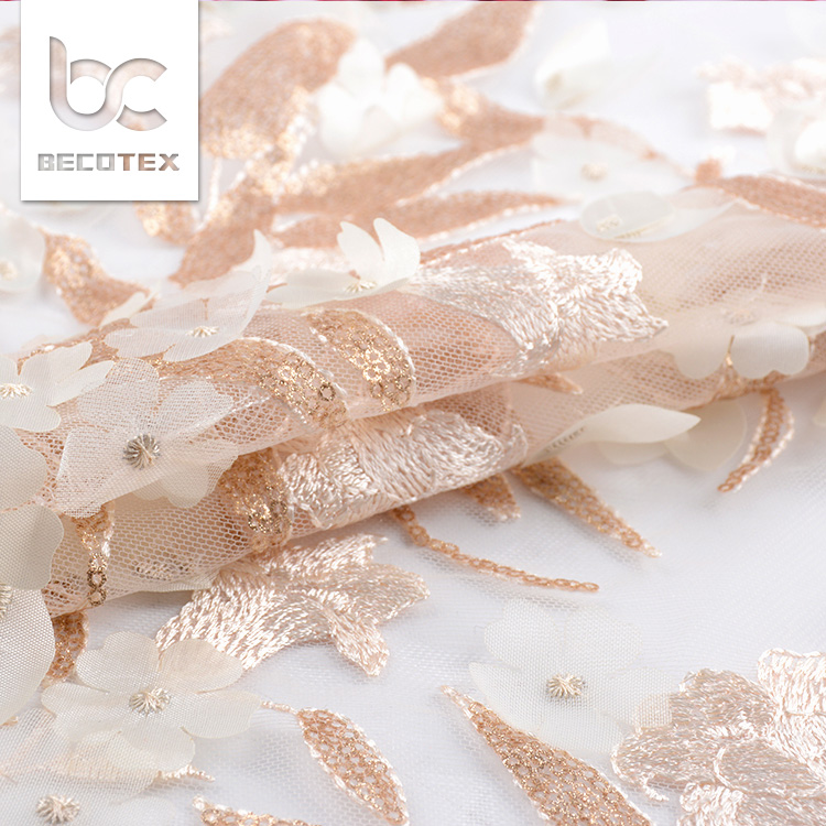 peach 3D net embroidery lace fabric flower french lace dress fabric