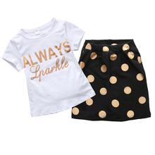2016 Summer Baby Girls Clothes 2pcs set Summer Letter T shirt Polka Dot Skirt Girls Clothing