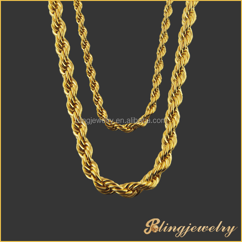 Gold-Tone Plated Sterling Silver Hollow Byzantine Hip Hop Chain Necklace