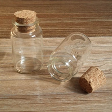 20ml Small Glass Jar With Cork Lid, Clear Glass Bottle for Powder Jewelry