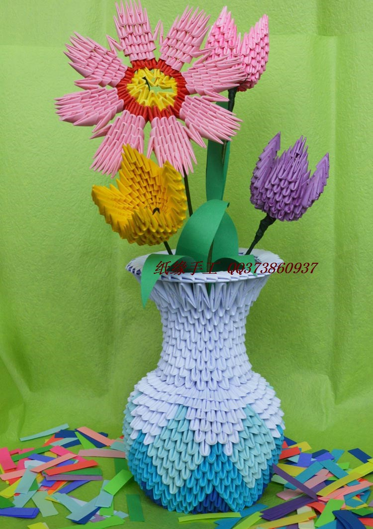 Diy origami paper vases crafthubs hot sale flower vase handmade by 3d origami paper child reviewsmspy