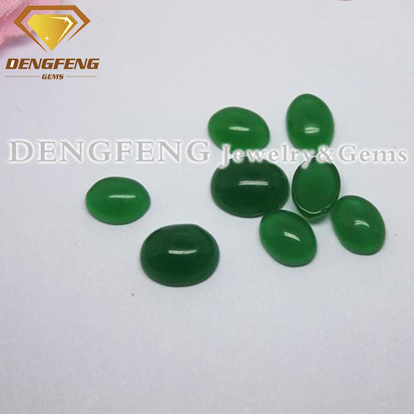 Oval Cut Green Agate Synthetic Cat Eye Stone