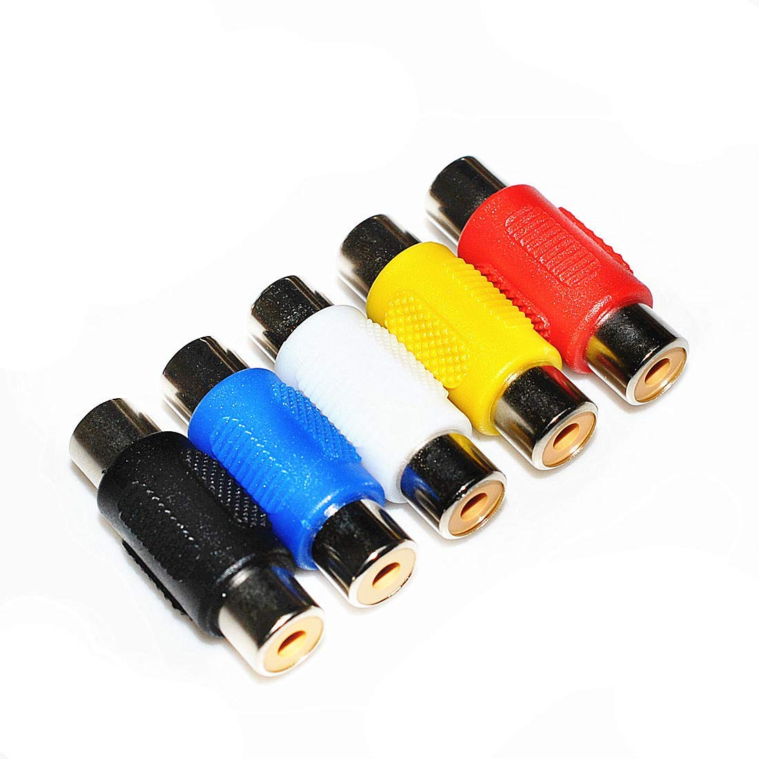 Willwin 5 pcs Audio Video AV RCA Female to Female Coupler Adapter Connector(Red+Yellow+Blue+Black+White)