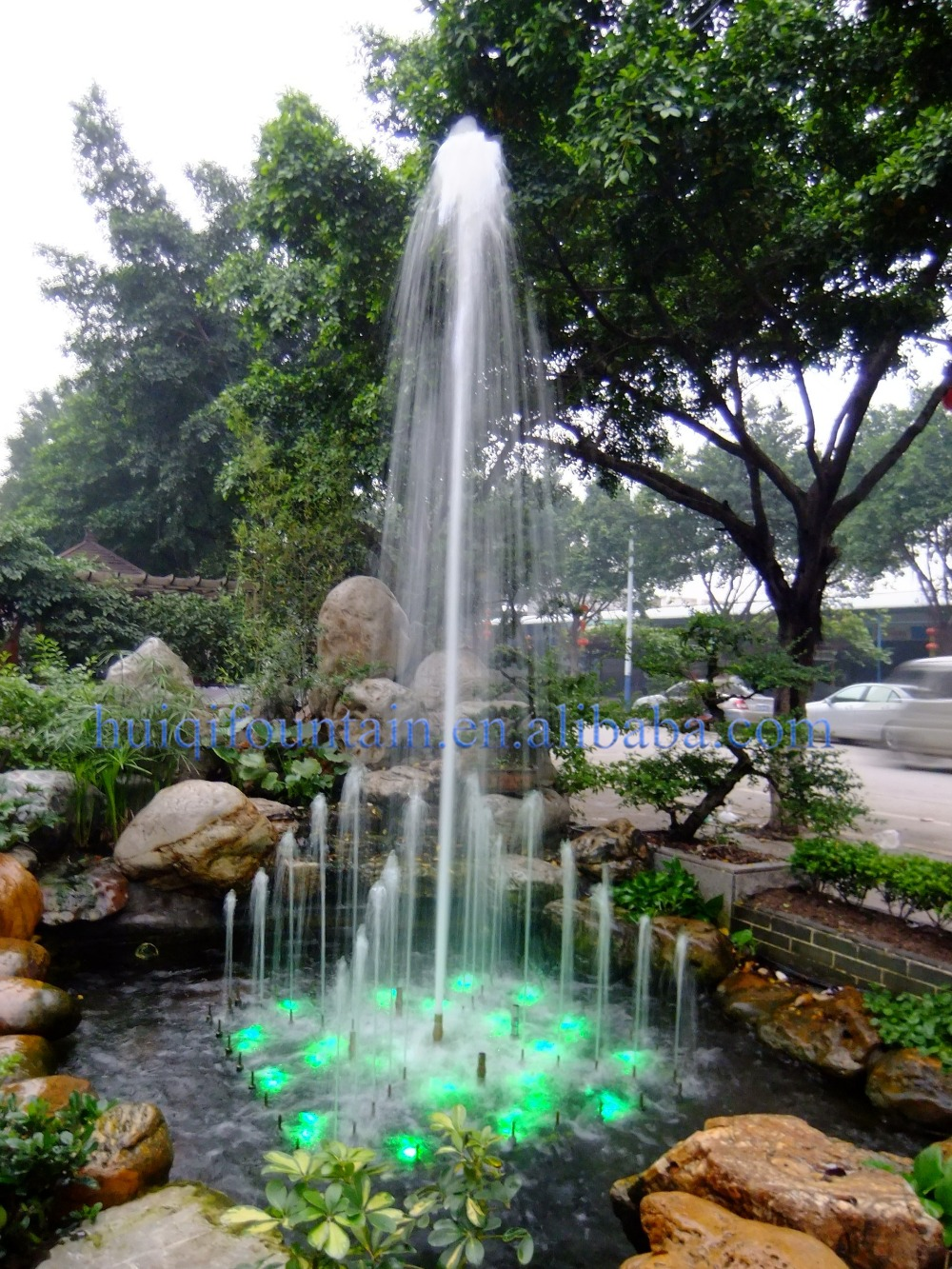 Customized large angel outdoor water umbrella fountains for Waterfall fountain