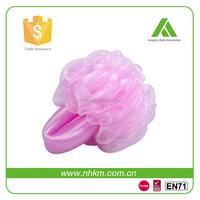 Pink flower with mesh handle scrub body ball sponge massage bath ball