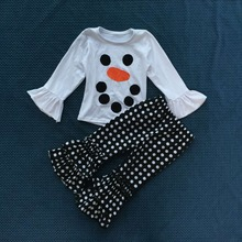 WY-242 Girls Ruffle Frozen Outfit For Children's Boutique Shirt Icing Leggings Clothes Sets