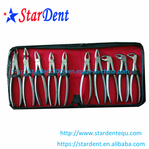 Dental Stainless Steel Tooth Forceps of Surgical Instrument (10pcs set)