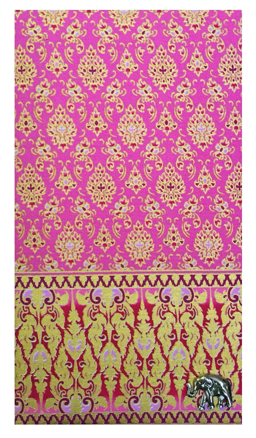 Pink Thai Fabric Waitstaff Organizer Guest Check Presenter, Check Holder for Restaurant, Guest Check Book Holder, Restaurant Server Book, Waitstaff Organizer Book (With Plastic Covers)