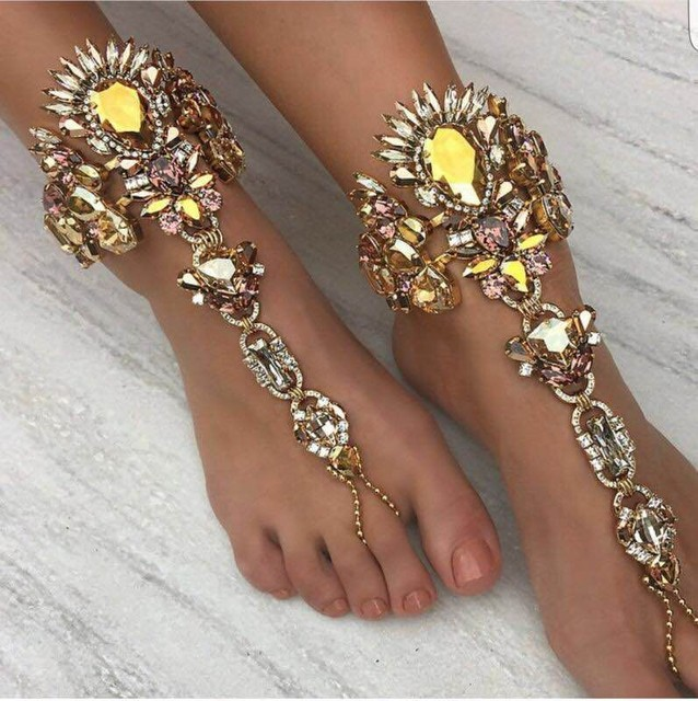 1 Toe Ring Silver Details about  /Rhinestone Slave Anklet