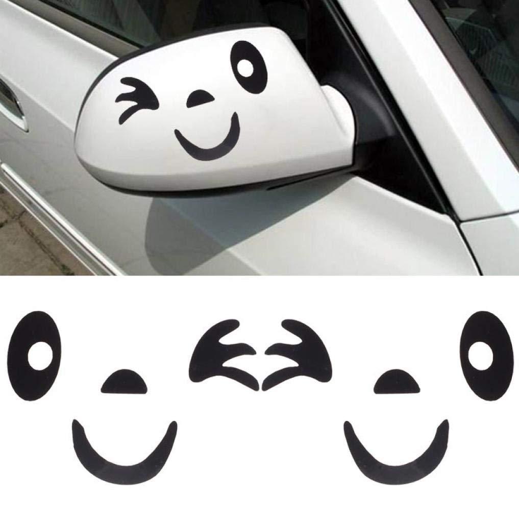 Gessppo DIY Your Own Personalized Car Smile Face Design 3D Decoration PVC Sticker for Car Side Mirror Rearview,Size:10.1cm6.8cm。 (Black)