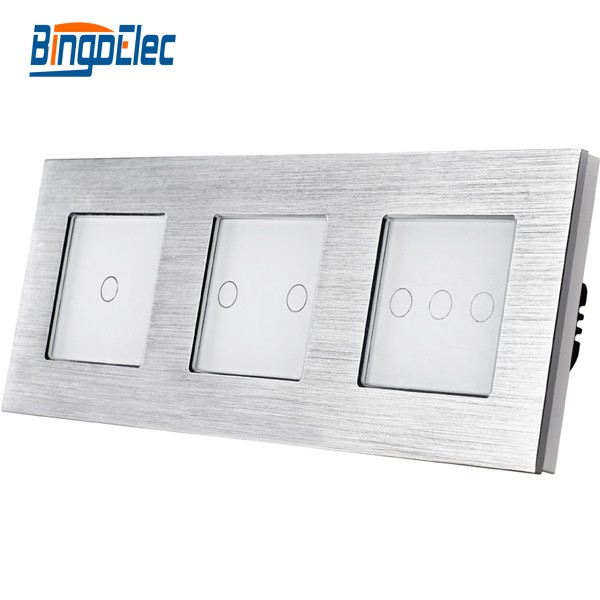 New design metal colored panel Triple touch switch