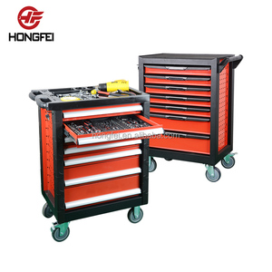 196pcs hongfei high quality tool trolley case, workshop rolling hand tool box trolley, China car repair tool trolley with tools