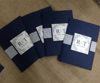 navy blue wedding invitation csrd with glitter and pocket - Pocket Wedding Invitations