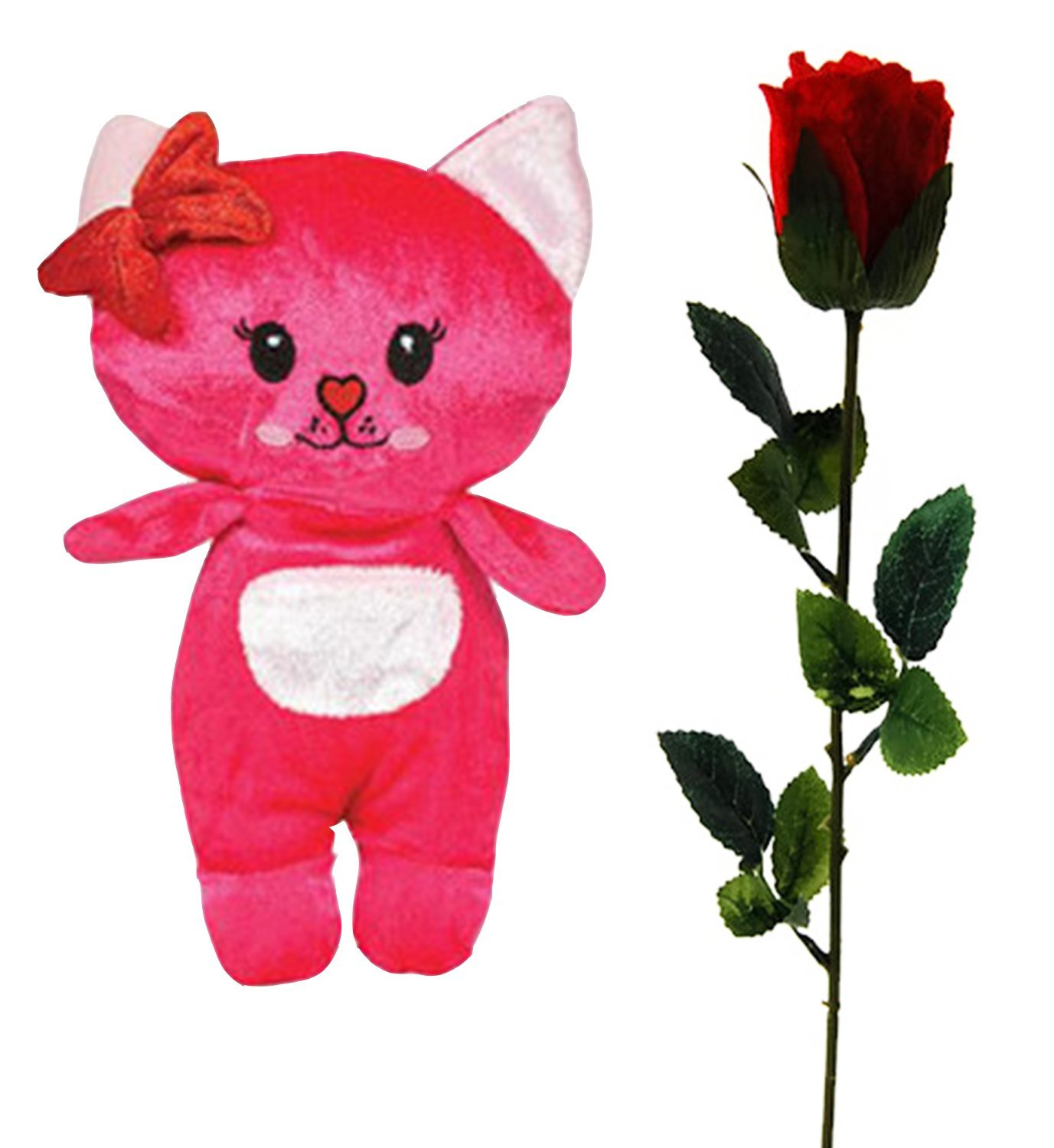 "Valentine's Day Gift: 9"" Plush Cat Stuffed Animal Toy and 18"" Scented Velvet Rose - Kawaii Beautiful Romantic Love Set (Pink)"