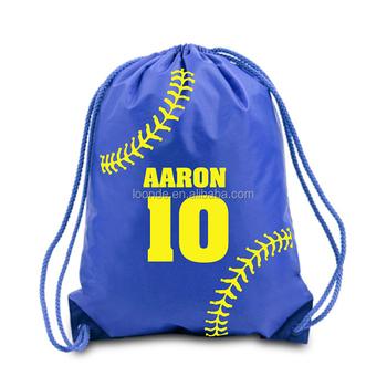 Personalize Small Nylon Softball Drawstring Cinch Bag