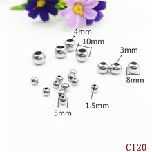 multi inner hole sizes 1.0/1.1/1.2/1.5/1.8mm small shiny polished silver color stainless steel metal beads for jewelry making