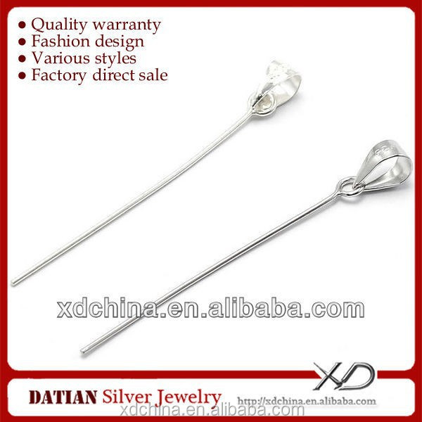 XD P062 high quality 925 sterling silver drop with eye pin clasp bail pendant clasp