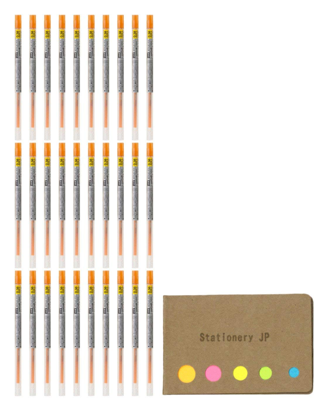 Uni-ball Signo Gel Ink Refills for Uni Style Fit Gel Multi Pen 0.38mm Orange Ink, 30-pack, Sticky Notes Value Set