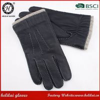 Fashion Men's Deer Handmade Leather Gloves Helilai Factory Men Cheap Black Motorbike Wool Lined Leather Gloves