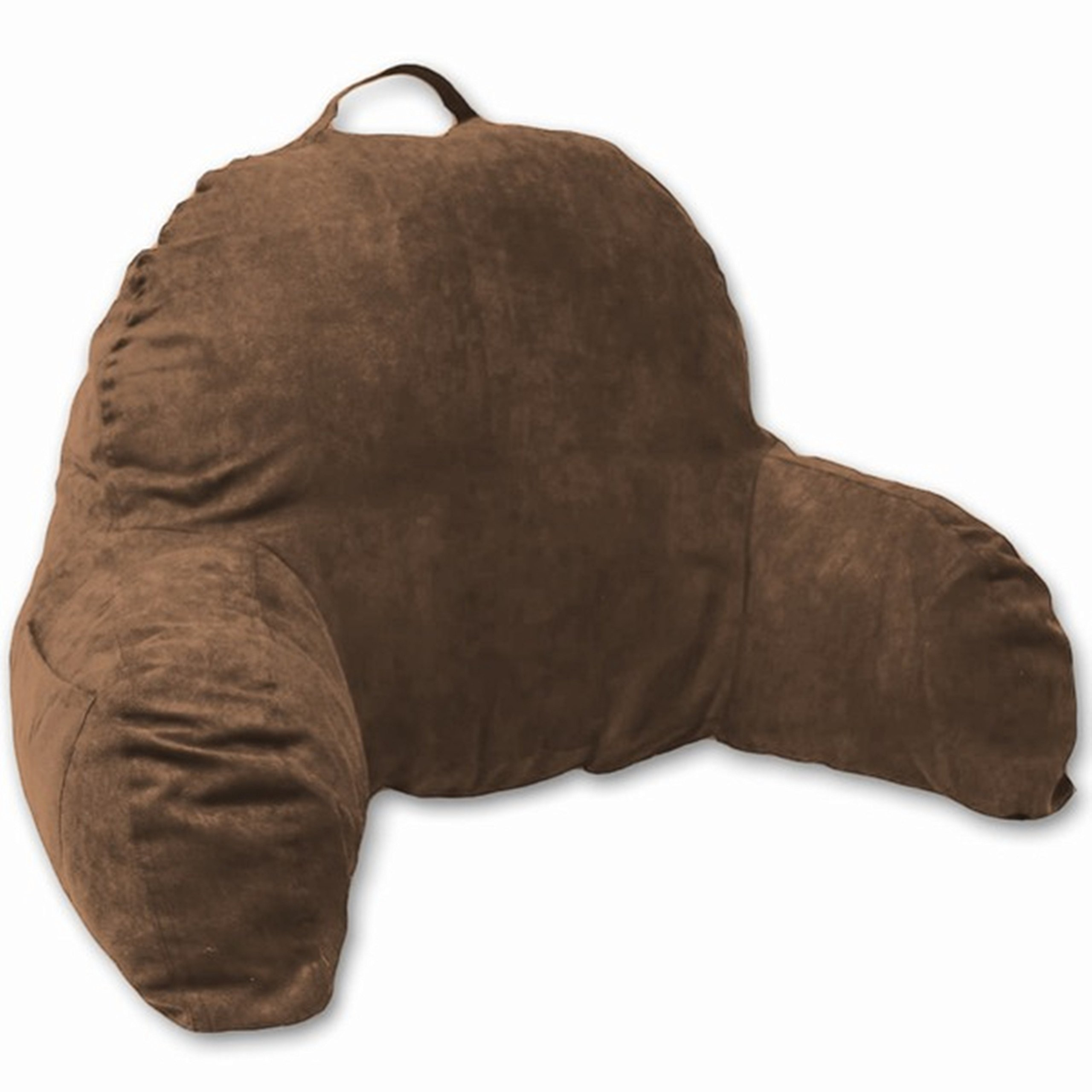 Deluxe Comfort Microsuede Bed Rest - Reading and Bedrest Lounger - Sitting Supprt Pillow - Soft But Firmly Stuffed Fiberfill - Backrest Pillow With Arms, Brown