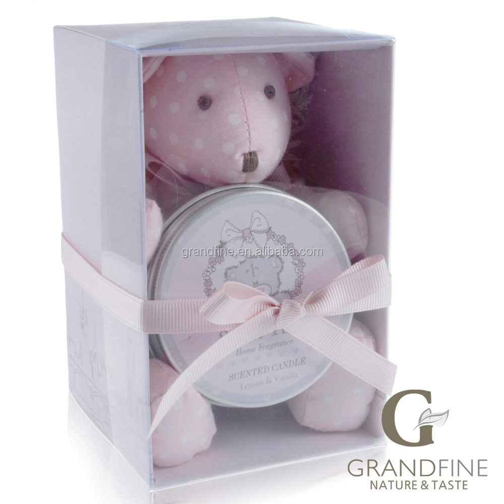 Grandfine new arrival home decor fragrance sets new giveaway with pink bear and candle tin