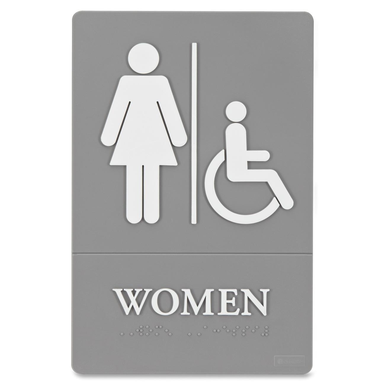 "Quartet Women Bathroom Sign, Handicap Accessible, ADA Approved, 6"" x 9"", Grade 2 Braille, Womens Restroom (01415)"