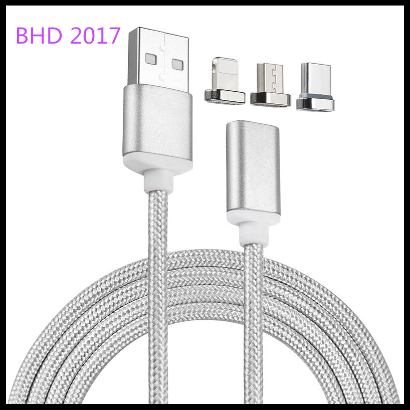 Factory price mobile phones and accessories 3 in 1 magnetic charging optical fiber cable for iphone, android, type c