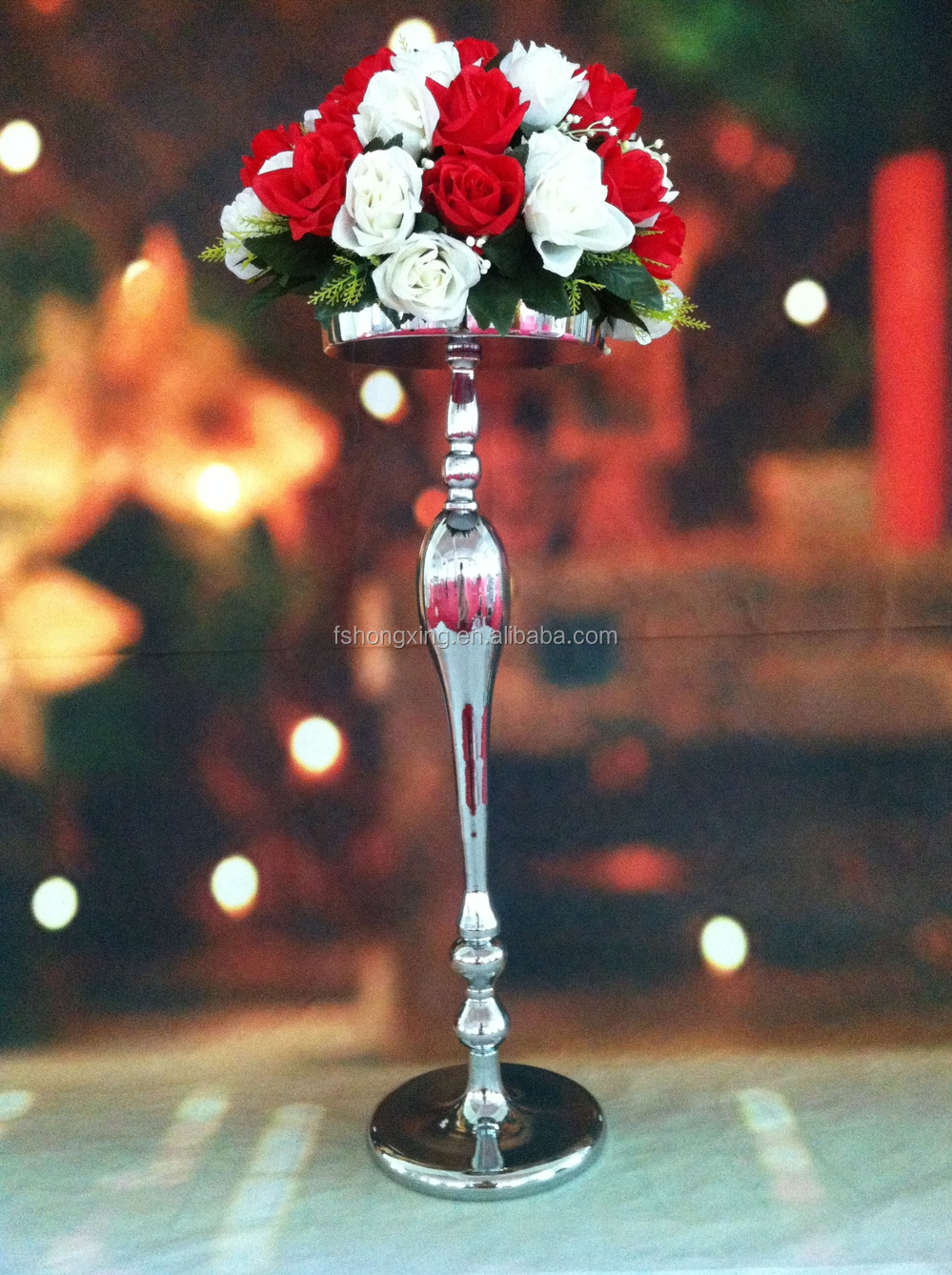 Hot metal sliver tall wedding flower vase stand elegant
