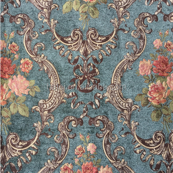 High Quality Blue Floral Pattern Jacquard Tapestry Fabric Sofa Fabric