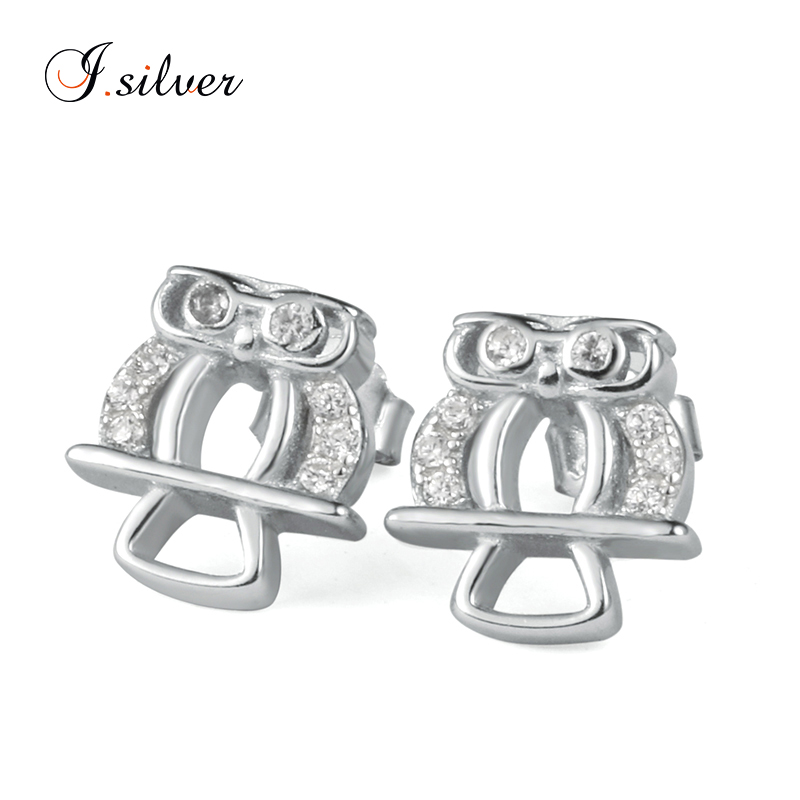wholesale cheap 925 sterling silver owl zircon earrings jewelry online LQE6731