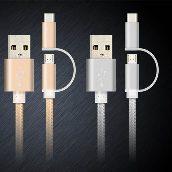 Aluminum shell usb 2.4A fast charging 3.1 type c cable with protective sleeve